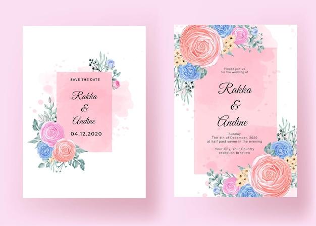 Huwelijksuitnodiging met romantische bloem ranunculus Gratis Vector
