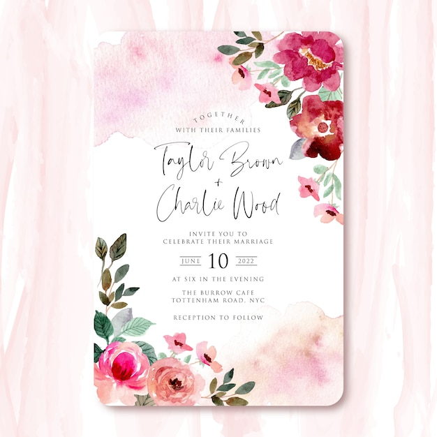 Huwelijksuitnodiging met rood roze mooi bloemenwaterverfkader Premium Vector