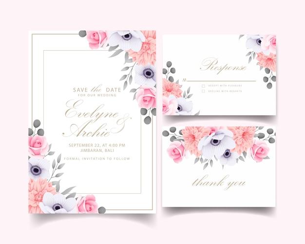 Huwelijksuitnodiging met rozen Premium Vector