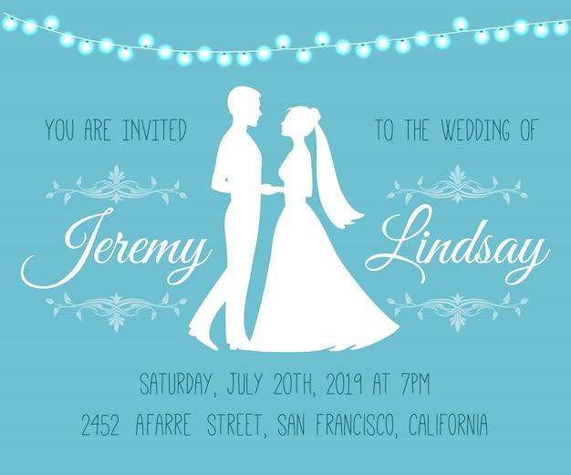 Huwelijksuitnodiging met silhouetten van de bruid en bruidegom Premium Vector