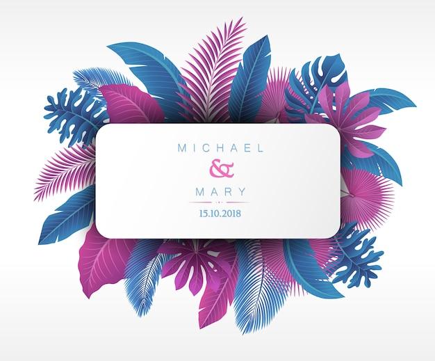 Huwelijksuitnodiging met tropische bladeren concept Premium Vector