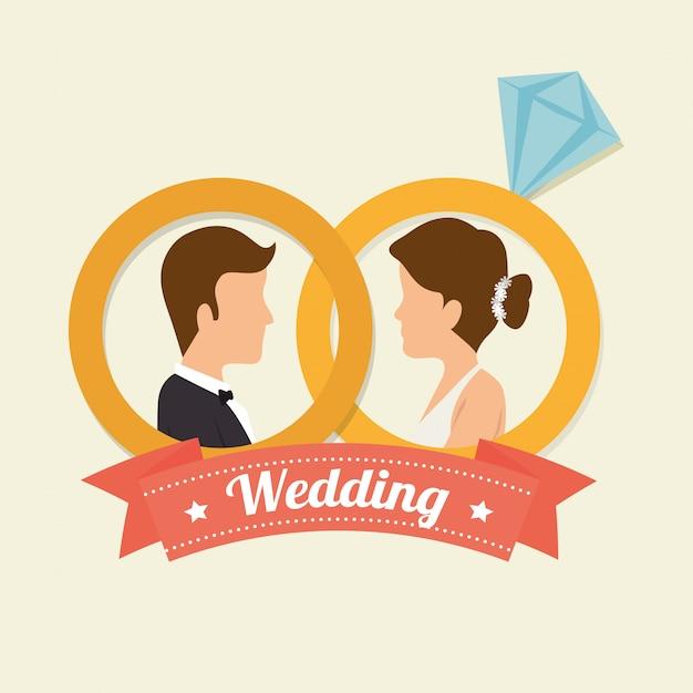 Huwelijksuitnodiging ontwerp Premium Vector