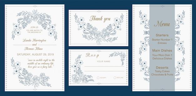 Huwelijksuitnodiging, rsvp, dank u, menukaart, modern ontwerp Premium Vector
