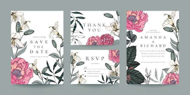 Huwelijksuitnodiging, rsvp-kaart, bedankkaart-sjabloon Premium Vector