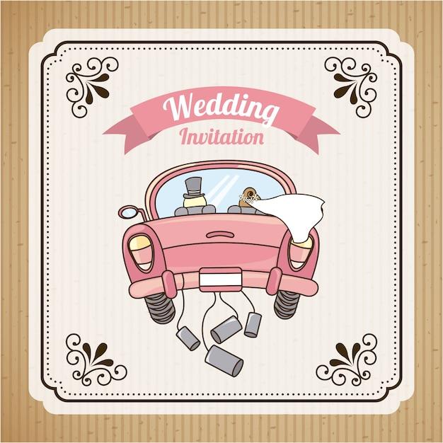 Huwelijksuitnodiging Premium Vector