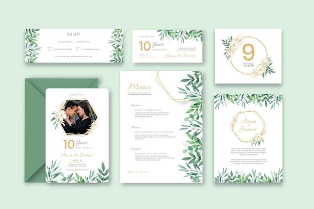 Huwelijksverjaardag briefpapier collectie Gratis Vector