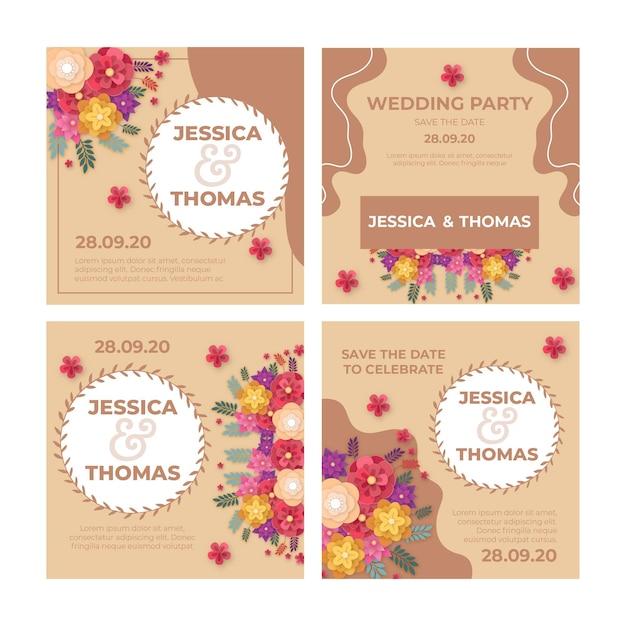 Huwelijksverjaardag instagram-berichten Gratis Vector