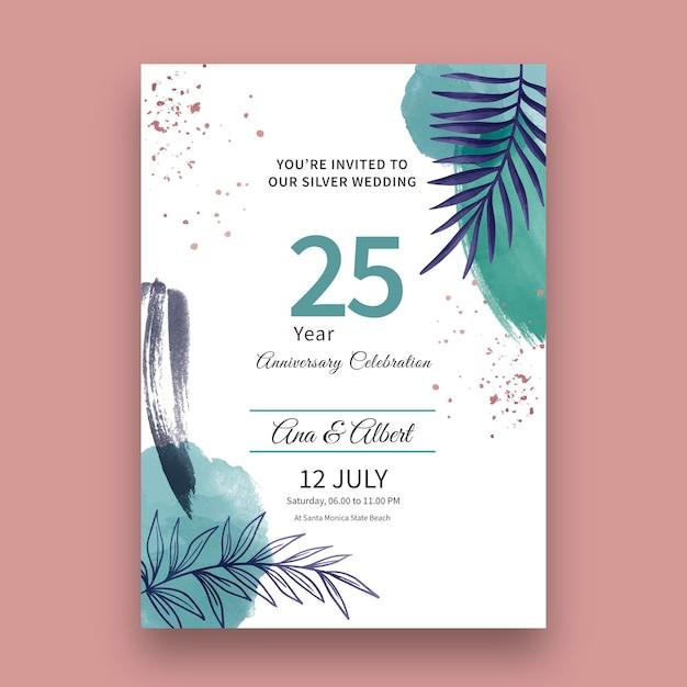 Huwelijksverjaardag kaart Gratis Vector