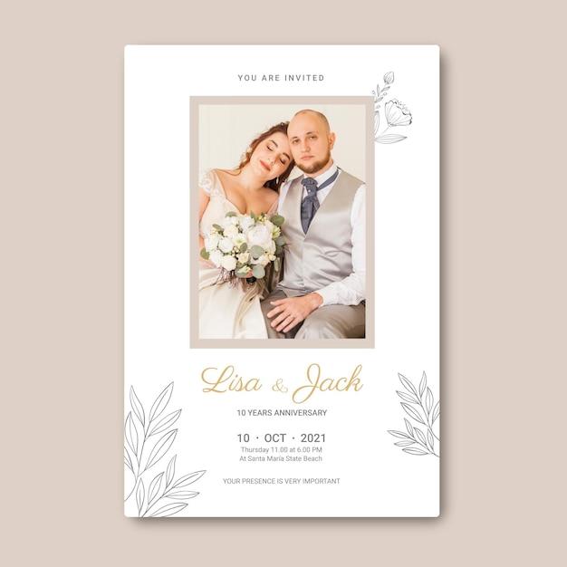 Huwelijksverjaardag kaartsjabloon Premium Vector