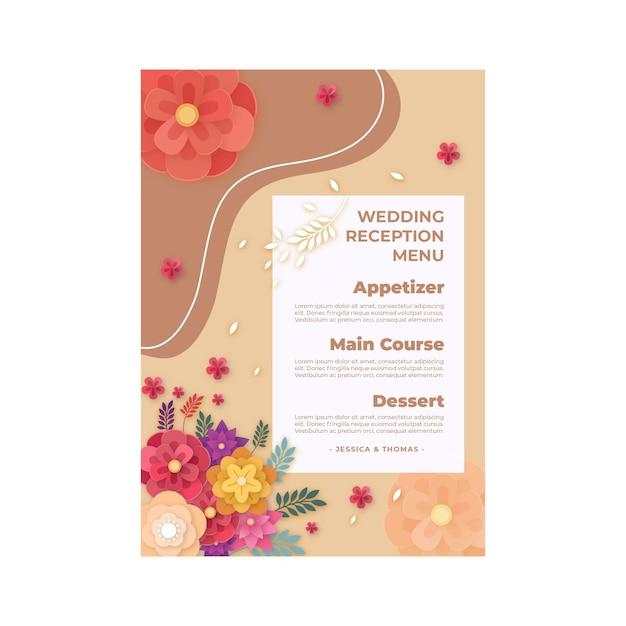Huwelijksverjaardag menu Gratis Vector