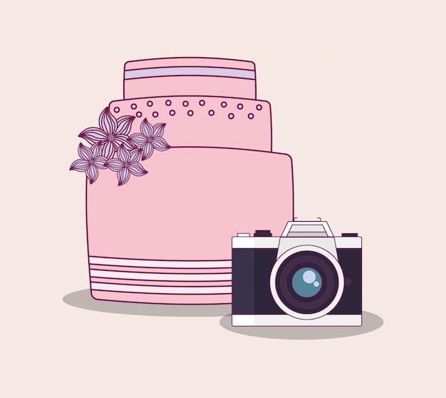 Huwelijksviering met zoete cake Premium Vector