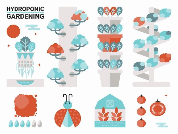 Hydroponic tuinieren Premium Vector