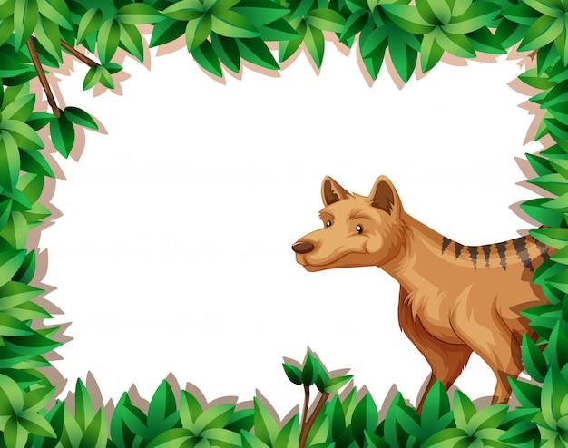Hyena in aardkader Gratis Vector