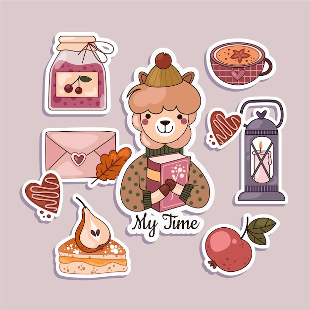 Hygge plat ontwerp stickers set Gratis Vector