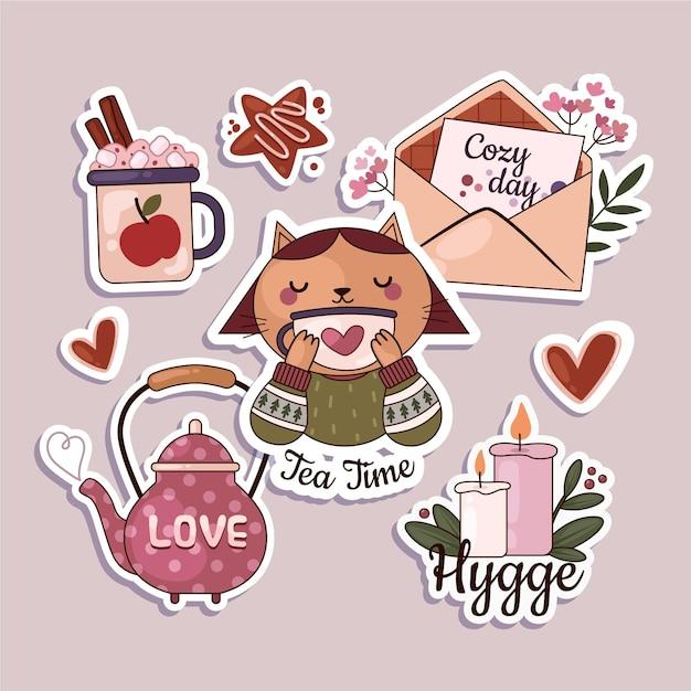 Hygge-stickerspakket met plat ontwerp Gratis Vector