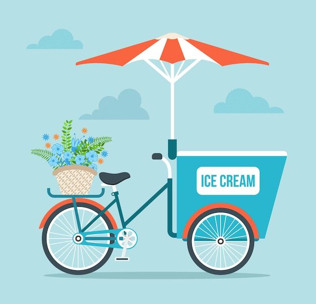 Ice cream bicycle cartoon afbeelding Premium Vector