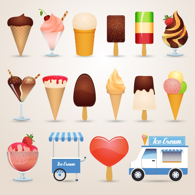 Ice cream cartoon pictogrammen instellen Gratis Vector