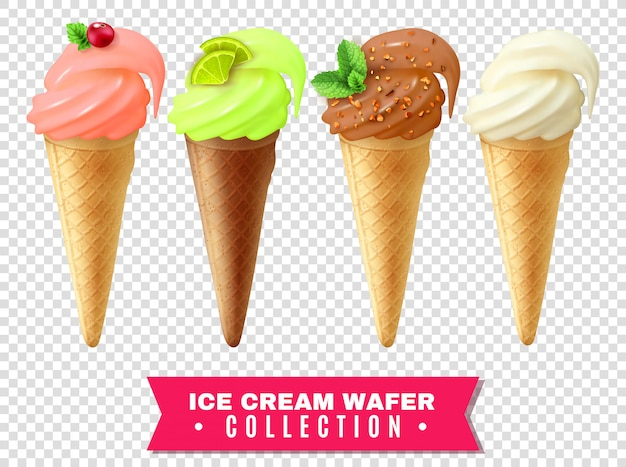 Ice cream wafer-collectie Gratis Vector