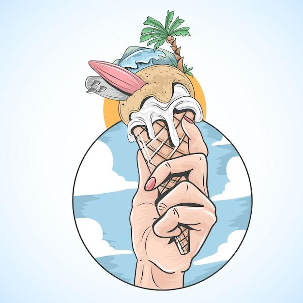 Ice cream zomerstrand surf en kokosboom Premium Vector