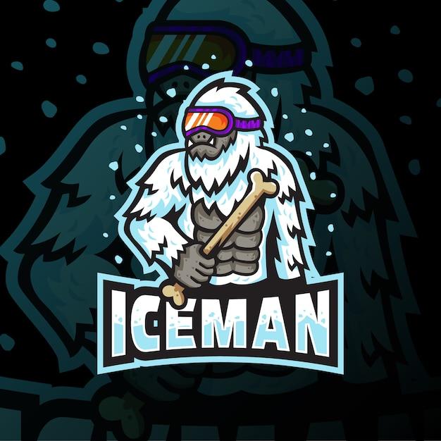 Ice man mascotte logo esport gaming illustratie Premium Vector