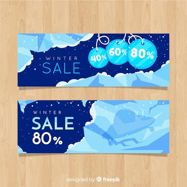 Ice winter verkoop banner Gratis Vector