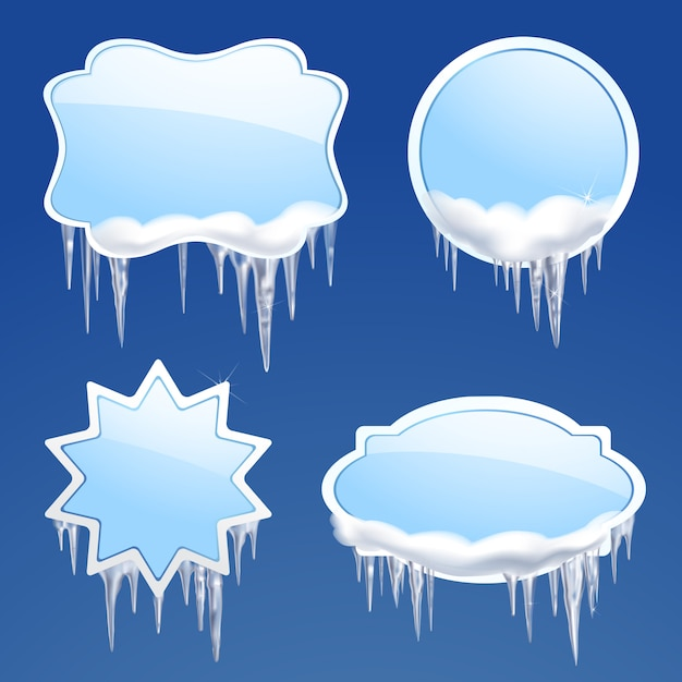 Icicle frames set Gratis Vector