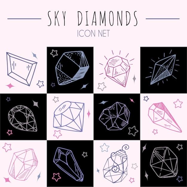 Icon overzicht set - kristallen of edelstenen, collectie met sieraden edelstenen, diamanten Premium Vector