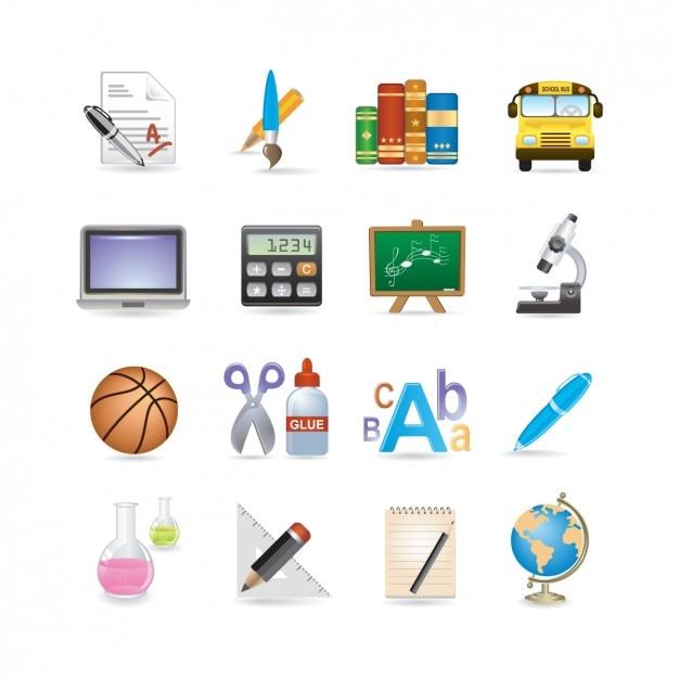 Icon set school Gratis Vector
