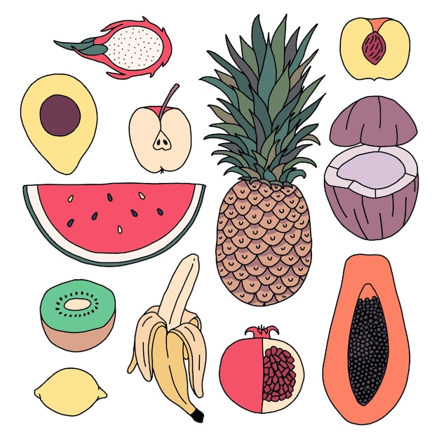Icon set van fruit. ananas, watermeloen, appel, kiwi, kokosnoot, papaja, draak, granaatappel, banaan, citroen, abrikoos, avocado. Premium Vector