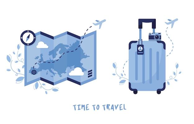 Icon set voor reizen en toerisme. bagage, koffer en kaart met een kompas. vakantie in europa. zomervakantie. blauw Premium Vector