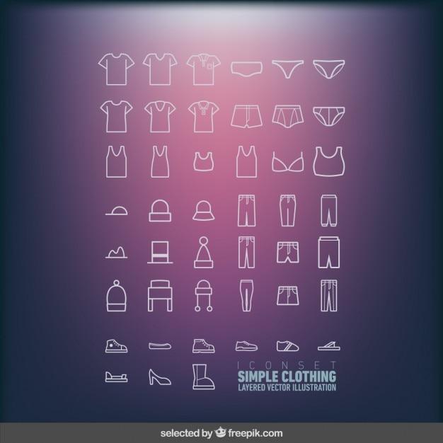 Iconen set van eenvoudige kleding Gratis Vector