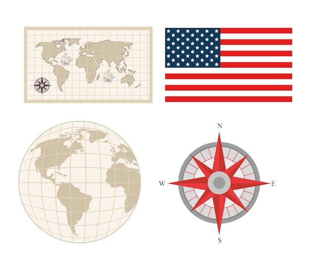 Iconen set van happy columbus day national usa vakantie Premium Vector