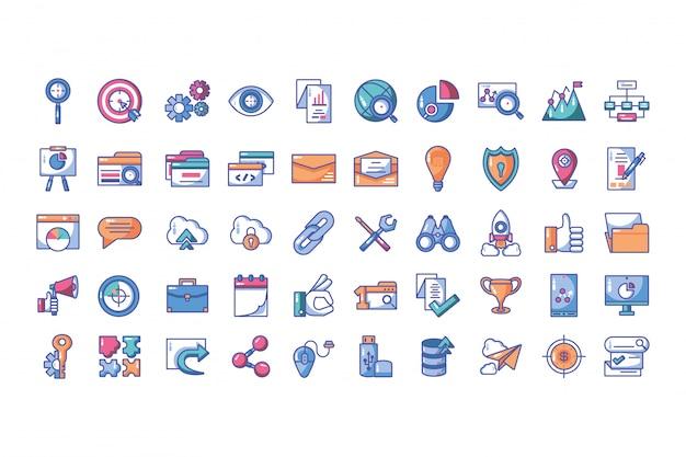 Iconen set van webontwikkeling en website programmeerproces Premium Vector