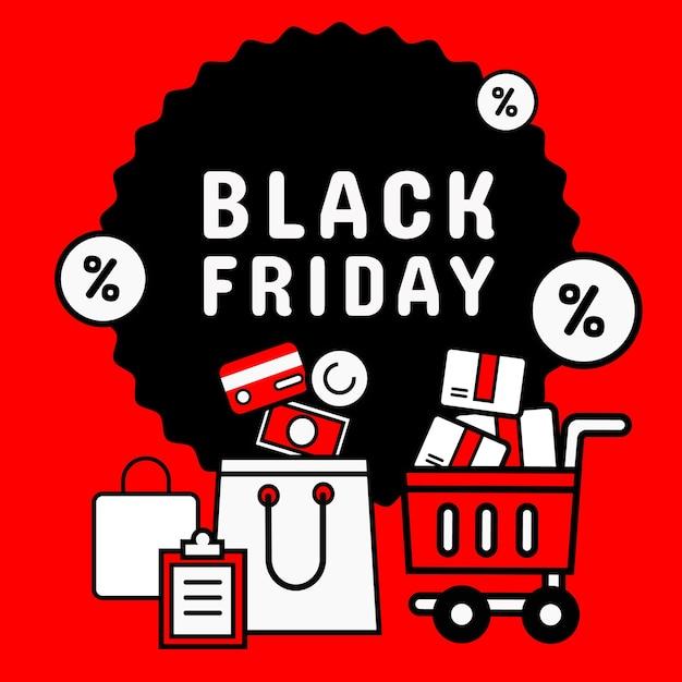 Icoon stijl. zwarte vrijdag banner promotie Premium Vector