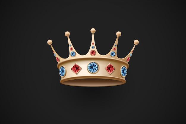 Icoon van gouden koninklijke kroon met rode en blauwe diamant Premium Vector