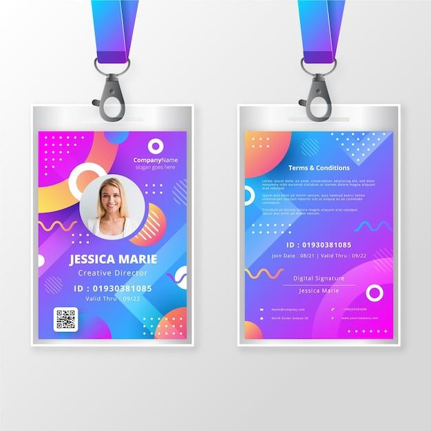 Id-badge sjabloon voor en achter met foto Gratis Vector