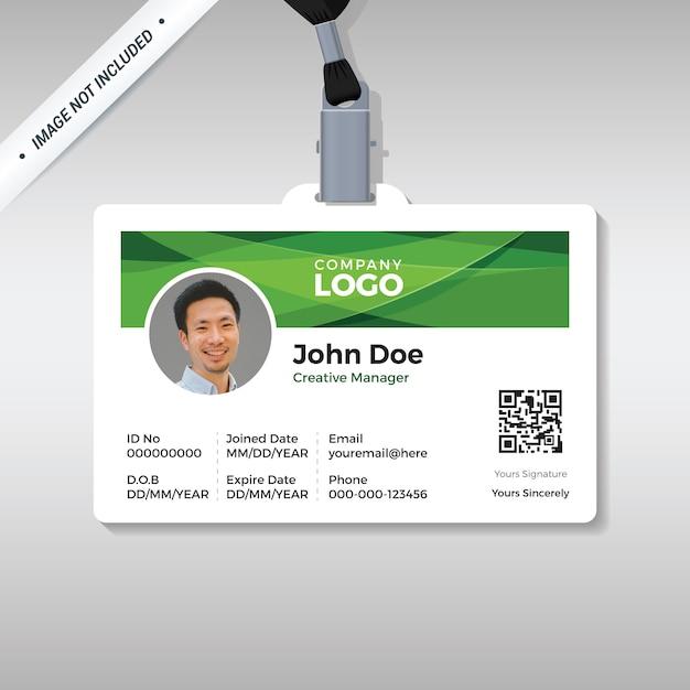 Id-kaart ontwerpsjabloon met abstracte groene achtergrond Premium Vector