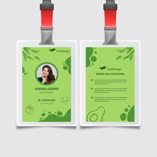 Id-kaartsjabloon voor bio en gezond voedsel Premium Vector
