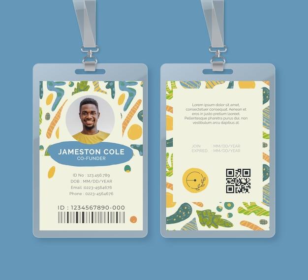 Id-kaartsjabloon voor bio en gezond voedsel Gratis Vector