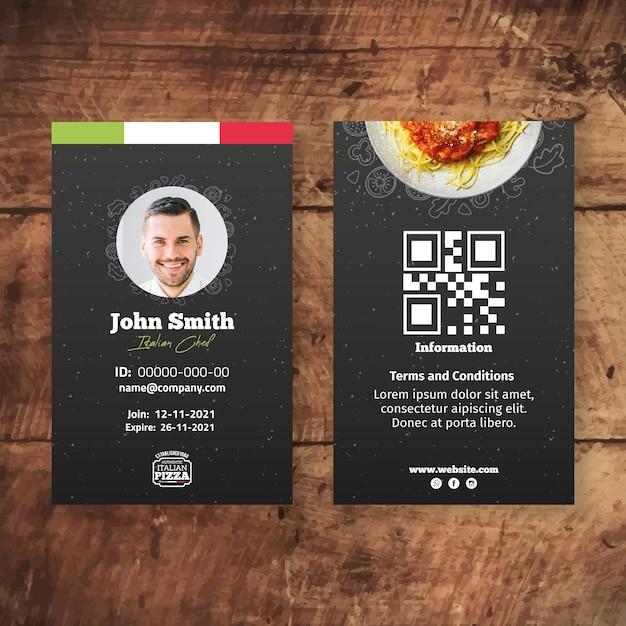 Id-kaartsjabloon voor italiaans eten Gratis Vector