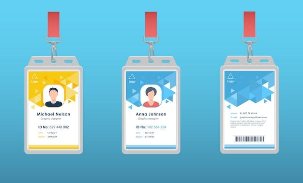 Id-paskaarten voor evenementpersoneel ingesteld Gratis Vector