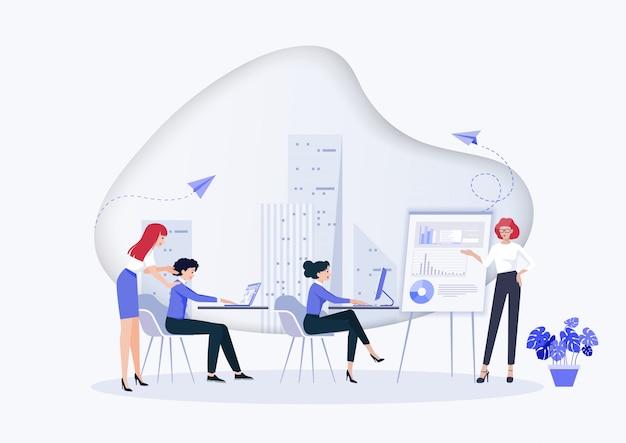 Idee en bedrijfsconcept voor teamwerk. Premium Vector