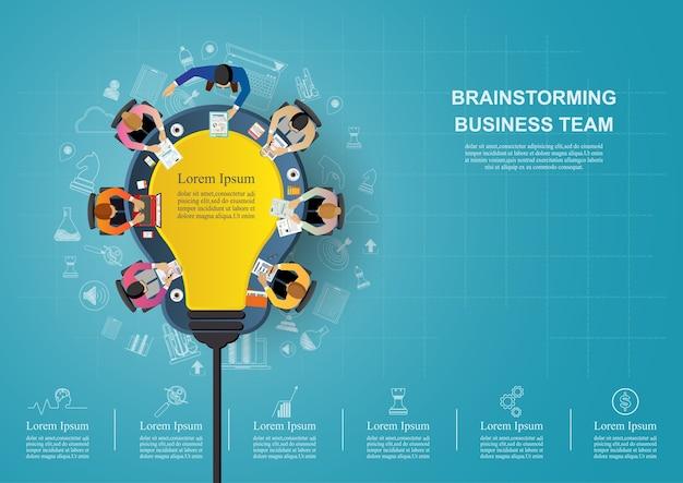 Ideeconcept voor bedrijfsgroepswerk. Premium Vector
