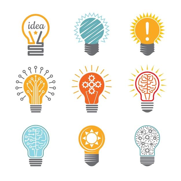 Ideeën lamp symbolen, creatieve tech innovatie elektrische pictogram voor zakelijke logo kleurrijke verschillende Premium Vector