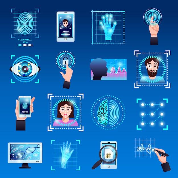 Identificatie technologieën symbolen pictogrammen instellen met touchscreen vingerafdruk herkenning id-systemen geïsoleerd Gratis Vector