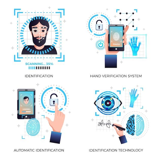 Identificatietechnologieën ingesteld met gezichtsherkenning hand automatische verificatie technologie systemen geïsoleerd Gratis Vector