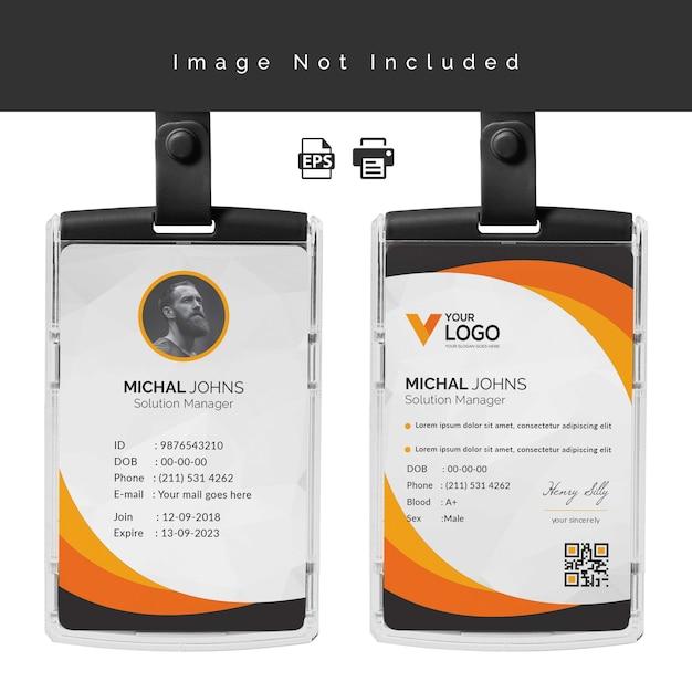 Identiteitskaart ontwerpsjabloon Premium Vector