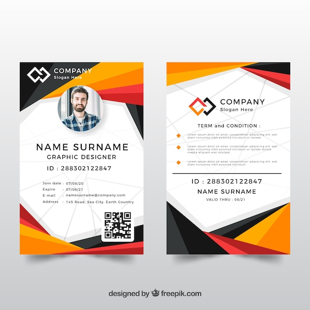 Identiteitskaart-sjabloon met abstracte stijl Gratis Vector