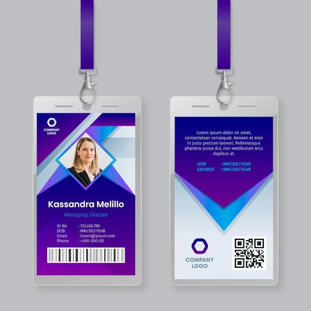 Identiteitskaart-sjabloon met foto Gratis Vector