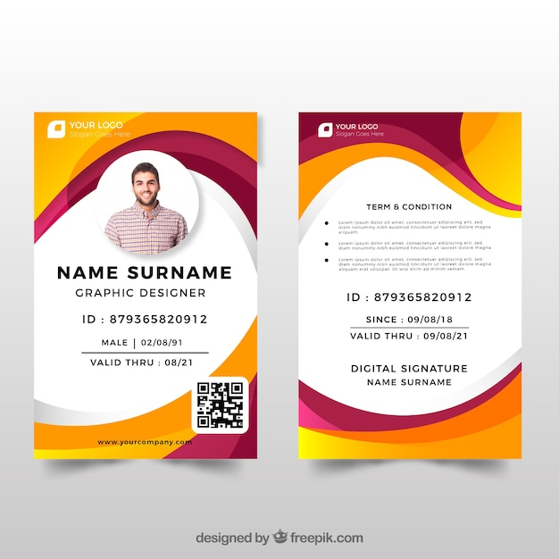 Identiteitskaart-sjabloon met plat ontwerp Gratis Vector